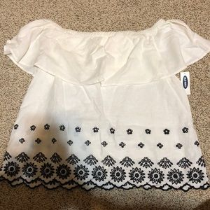 Off the shoulders white top with black trim